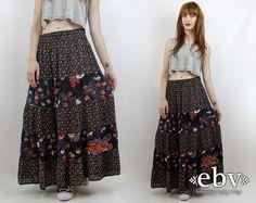 #Vintage #90s Black Floral #Hippie #Maxi #Skirt, fits L/XL by #shopEBV http://etsy.me/1L4pdBy @Etsy #hippy #boho #bohemian #festivalstyle