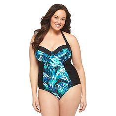 0e752baca2ea5 Womens Plus Size OnePiece Swimsuit BlackBlueAva Viv 24W   To view further  for this item