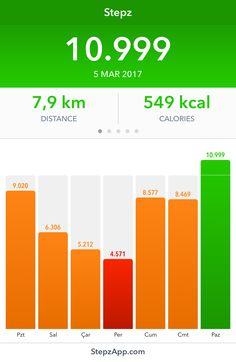 I've walked 10.999 steps with my Stepz App!