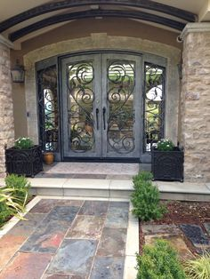 Have a look at this stylish unique entry doors - what an innovative project doors entrance wrought iron doors entrance wrought iron Front Door Design, Gate Design, House Design, House Doors, House Entrance, Iron Front Door, Front Doors, Rustic Entryway, Entryway Decor