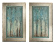 "Expressionistic art in familiar subjects is a fresh way to accent traditionally opulent bedding. Aqua Shimmering Trees Art, set of 2.  Silver leaf with antique wash frame. 35"" high. DesignNashville"