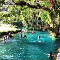 This is the Blue Lagoon and its a shortbicycleor motorbike ride outside of Vang Vieng, Laos.