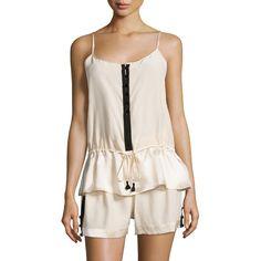 Carolina Herrera Two-Tone Pajama Set ($110) ❤ liked on Polyvore featuring intimates, sleepwear, pajamas and carolina herrera