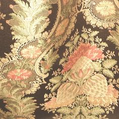 Rich Luxurious Chocolate Victorian Artichoke Floral Satin Brocade Upholstery Fabric @ 80%+ Discount!
