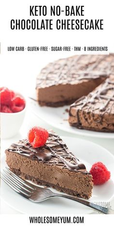 Keto Low Carb No Bake Chocolate Cheesecake Recipe - An easy no bake chocolate cheesecake recipe with 20 minute prep! Keto low carb chocolate cheesecake has just 5 ingredients in the crust & 4 in the filling. Keto Friendly Desserts, Low Carb Desserts, Low Carb Recipes, Dessert Recipes, Diet Recipes, Lunch Recipes, Candy Recipes, No Bake Chocolate Cheesecake, Low Carb Cheesecake