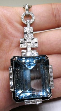 Art Deco Aquamarine, Diamond + Platinum Necklace