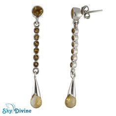 Sky Divine - Sterling Silver Citrine Earring SDAER18a | Sky Divine Jewellery, $68.11