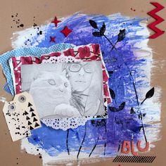 layout con pinturas acrílicas y gesso
