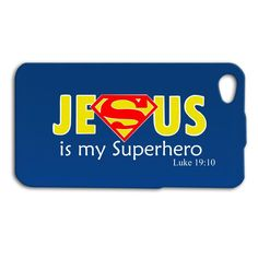 Jesus is my Superhero Superman Cute Christian Funny Luke Bible Verse Quote iPhone Case Phone Cover