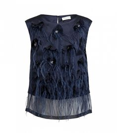 Dries Van Noten Ceduna Floral Embellished Silk Top - DIY idea for embellishing with organza flowers, crystals and feathers.