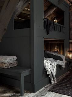 Attic bunk room with exposed ceiling over charcoal gray built-in bunks layered with gray and white bed linens with a built-in bench at the foot of the bunks over unfinished hardwood floor layered with a black rag rug. Home Bedroom, Bedroom Decor, Master Bedroom, Bedroom Ideas, Bunk Rooms, Bedrooms, My New Room, My Dream Home, Interior Inspiration
