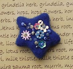 Blue Felted Wish Upon A Star Brooch by Honeypuddle on Etsy, $12.00