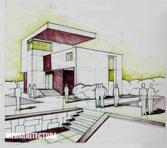 Box Perspective One. Standard approach - you construct a box then start sculpting the volumes in. Simple as that. Pencil + Colored Crayons on 50x70 Standard Paper, 5 Hours Completion Time #architecture #architect #rendering