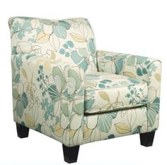 Daystar Seafoam Accent Chair. This comfortably cushioned chair brings an added element of form, function and harmony to the Daystar collection. Use it as an accompaniment to a sofa, loveseat or ottoman. The graceful lines and bouquet of summery shades offer a warm, restful retreat.