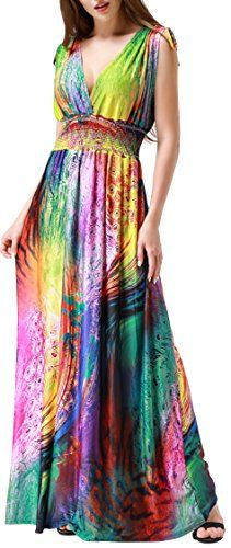 7158828975d0 Cheap Wantdo Women s Beach Dress Bohemian Maxi Dress Plus size(Colorful US  Deals Week