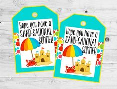 Hope You Have A Sand-Sational Summer Tags. Favor Tags for End of School Year, Beach Party, Instant D Beach Ball Party, Beach Party Favors, Party Favor Tags, Gift Tags, End Of Year Party, End Of School Year, Logo Clipart, Secret Pal, Spring School