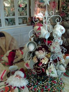 Penny's Vintage Home: Baby It's Cold Outside Tablescape-Great teacup tree for Christmas