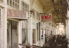 Brighton West Pier bingo sign: The Pier closed in 1975 and by the time this photo was taken, was a crumbling ruin