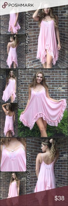 Spotted while shopping on Poshmark: NWT Pink Lace Trim Swing Tunic! #poshmark #fashion #shopping #style #Threads & Trends #Tops