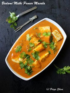 Badami Methi Paneer Masala - a delicious #curry made with cottage cheese which is cooked with rich almond gravy and blend of spices!