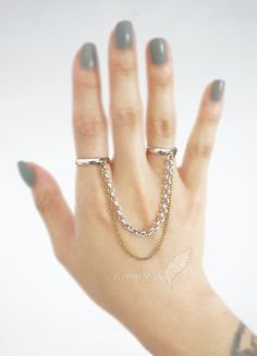 Rhodium Plated Adjustable Rings Double Ring Antique by Bumhemian, $14.00