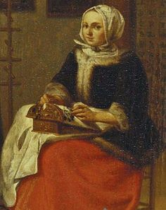 Pieter Cornelisz. van Slingelandt (Dutch Baroque Era Painter, 1640-1691)Lacemaker 1670