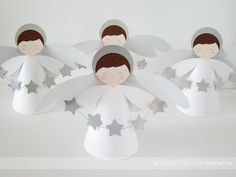 DULCESOBREMESA: BAUTIZO: ANGELES Y ESTRELLAS / BAPTISM: STARS AND ... Christmas Angels, Christmas Art, Christmas Projects, Christmas Decorations, Christmas Ornaments, Baby Baptism, Baptism Party, Christening, Première Communion
