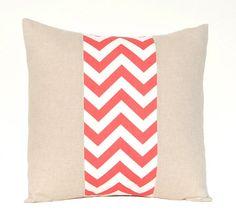 Chevron Pillow Cover Coral Decorative Throw by FestiveHomeDecor, $22.00