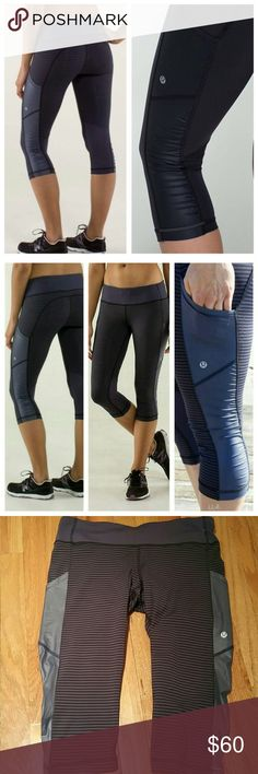 RARE lululemon Cut The Crop   1/8 Cadet Stripe 8 Excellent condition  Size 8  sweat-wicking, low-friction Luxtreme fabric has four-way stretch to let you twist and stride freely zipperless design means nothing will pinch or dig in when you're doing your crunches Mesh at the back of the legs helps keep you cool reflective details at the cuff help keep you visible in low light continuous drawcord won't come out in the wash  deep side pockets that fit your phone  designed for: gym, run…