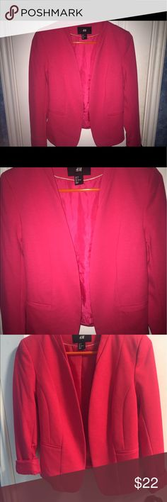 H&M hot pink blazer 🎀💗 Very very gently used- hot pink collarless blazer from H&M. Size 2. Great for business attire or to add a pop of color to any outfit. Silky fabric on inside of blazer. Looks cute with sleeves rolled up as well. Make an offer 😊 H&M Jackets & Coats Blazers