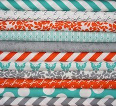 Teal, Orange, and Gray Nursery Colors