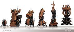 Cyberpunk chess pieces
