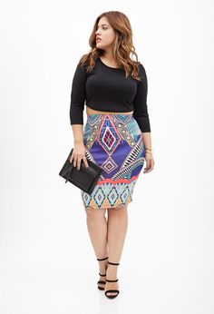 Denise Bidot for Forever 21 42 inch bust, 34 inch waist, 47 inch hips Abstract Print Pencil Skirt at Forever 21 (via Shopstyle)