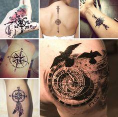 tatouage rose des vents en styles variés pour toutes les parties du corps
