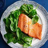 Orange-Glazed Salmon - 1 orange zested and juiced, balsamic vinegar, shallots, and baby spinach