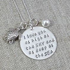 """""""I Love You As High As The Sky And As Deep As The Sea"""" Hand Stamped Necklace with Charms"""