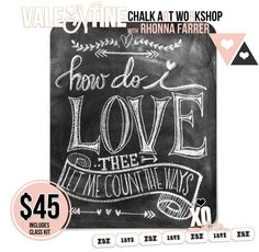 would love to attend one of Rhonna DESIGNS chalk art workshops! : chalkboard art Valentines