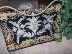 Vintage Black Velvet Embroidered Clutch. $30.00, via Etsy.