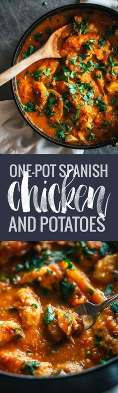 One Pot Spanish Chicken and Potatoes - a vibrant, comforting meal with simple flavors. 360 calories. ♠ pinned by http://www.waterfront-properties.com/ #spanishmeals