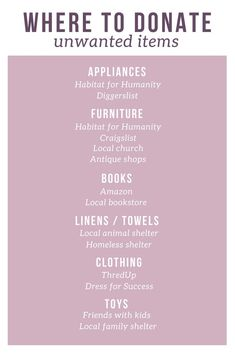 Your Space by Decluttering Where to donate unwanted items.Where to donate unwanted items. Sustainable Gifts, Sustainable Living, Getting Rid Of Clutter, Habitat For Humanity, Moving Tips, Eco Friendly House, Clean Living, Zero Waste, Memoirs