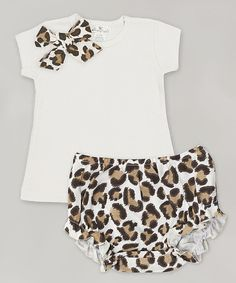Look at this Tesa Babe Ivory Leopard Bow Tee & Diaper Cover - Infant on #zulily today!