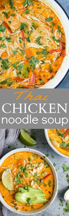 30 Minute Thai Chicken Noodle Soup filled with curry and coconut flavor, chicken, veggies and rice noodles! An epic soup recipe that will soon be your families favorite + it's gluten free!