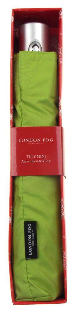 London Fog Green Full Size Umbrella Auto Open Close Silver Handle Tiny Mini Thin