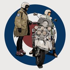 Vespa Lambretta, Vespa Scooters, Bike Illustration, Artwork Ideas, Motorcycle Art, Airbrush Art, Mod Fashion, Cartoon Images, Motorbikes