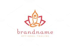 Logo design with concept of stylized human with hands above head, sitting in meditation praying pose. Human shape along with surroundings forms together Triquetra, Yin Yang, Initial Logo, Lotus Logo, Jewelry Logo, Abstract Logo, Logo Design Template, Business Card Design, Branding
