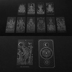 Decalogue, the complete ten cards based on Lovecraft lore.    #hpl #hplovecraft #lovecraft #darkart #cthulhu #cthulhumythos #cards #graphicdesign #design #packaging #diy #create #horror #darkprovidence #tarot #occult #metal
