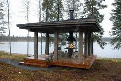 Show larger image in a new window Make A Fire Pit, Gazebo With Fire Pit, Backyard Studio, Backyard Sheds, Outdoor Seating Areas, Outdoor Spaces, Outside Living, Outdoor Living, Bbq Places