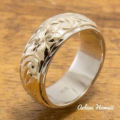 14K Gold Hawaiian Traditional Two Tone Ring ( 6mm x 8mm Width) - Aolani Hawaii - 1