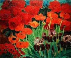 Garden with Flowers and Large Poppies, 1923 (oil on canvas)