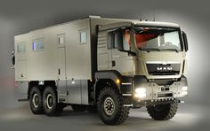 the action mobil 'XRS 7200' features 23 sq. ft of living space, satellite TV, a washer and dryer, and a lift at the back to carry a motorcycle. Expedition Vehicle, Remodeled Campers, Camping Car, Emergency Vehicles, Truck Camper, Custom Trucks, Survival Gear, Recreational Vehicles, Action